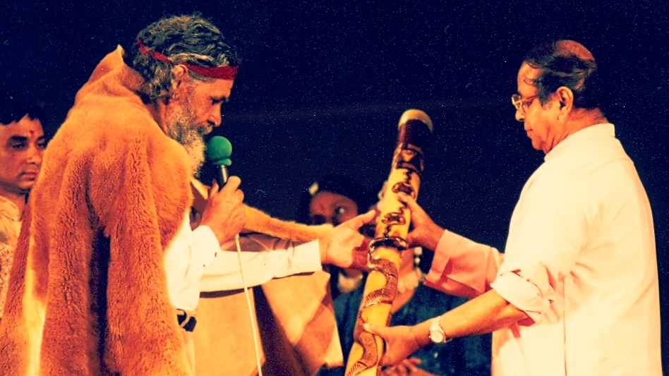 Swami Shantanand Saraswati (Swamiji) , and Bibbulmen Noongar Elder, Uncle Ken Colbung, 1997