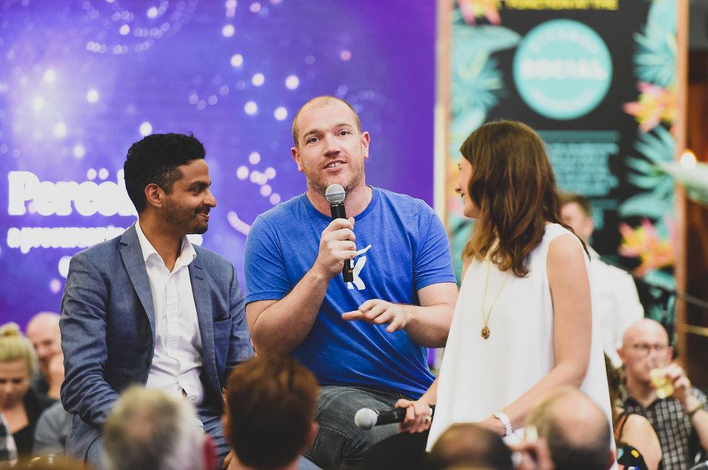 Pictured from left:  Rohan Gunatillake (Buddhify), Dom Price (Atlassian), Josi Heyerdahl (WWF)