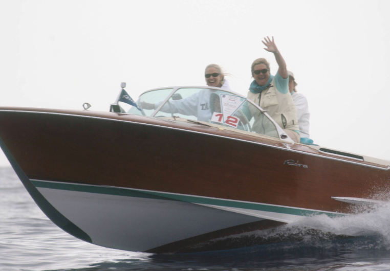 Deb cruising around with friends on her Riva in Lake Como.