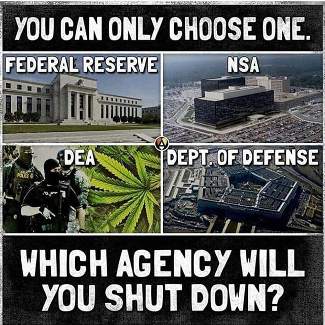 I'm calling out the DEA. That's considering you must choose one. In general all Federal programs needs some level of reform if not shut down completely. #Repost @own.the.libs ・・・ I pick the fed - how about you? ━━━━━━━━━━━━━━━━━━━━━━━━ ☛ Follow Us: @own.the.libs ☛ Awesome Store: buff.ly/2NLZQcM ☛ DM for Advertisements ☛ Follow our Friend: @donaldtrump_2020 ☛ FEATURED PATRIOT: @politicalliv #MAGA #PresidentTrump #AmericaFirst #BuildTheWall #DonaldTrump #Trump #BlueLivesMatter #SupportOurTroops #POTUS #SCOTUS #45 #Conservative #GOP #Republican