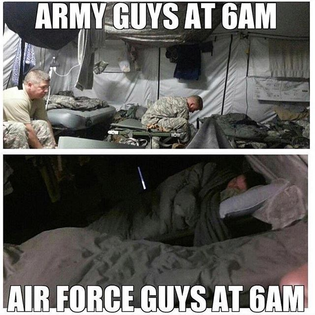Laugh.....even I know this is true. Lol #Repost @military.humor ・・・ 🔥DAMN!! Shots fired at us AIR FORCE!! Well.....it's true though, so I ain't mad! 🤣🤣🤣 #beautyrest . . . . @supportmilitarymuscle . 🇺🇸BUY ONE GIVE ONE: For every tee bought, we will donate tees to deployed troops and homeless veterans. For more info visit www.militarymuscleinc.com . 🎗Want to get involved in our non-profit? Check out @militarymusclefoundation . 🎥Also visit: YouTube.com/militarymuscleinc for MM motivational videos! 💥Click Link in BIO💥 . ❎ TAG YOUR FRIENDS SO THEY CAN LAUGH TOO! . ❎ DM ME YOUR FUNNY POST FOR A FEATURE!!. . ❎ @bigpanda_official KEEPING SMILES ON FACES SINCE 2015 . #military #militarymuscle #supportmilitary #supportmilitarymuscle #iammilitarymuscle #usn #navy #usmc #marines #usarmy #army #usaf #airforce #uscg #coastguard #veteran #guns #humor #militaryhumor #funny #laugh