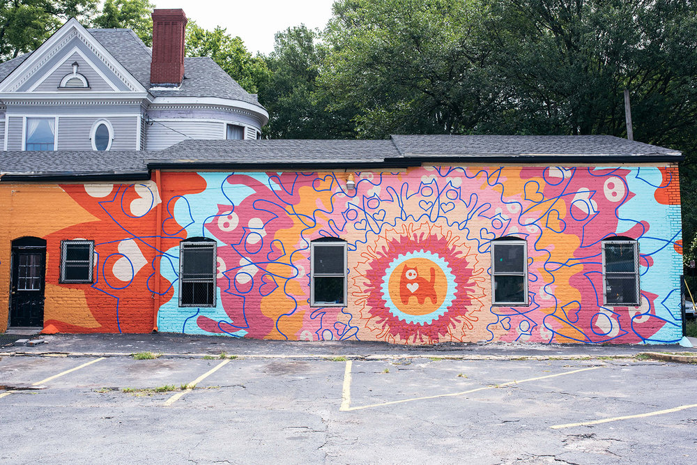 """Cat Mandala"" for Outerspace Project 2016. Formerly located in Little Five Points at the corner of McClendon and Moreland. Photo:  Evan Ranft"