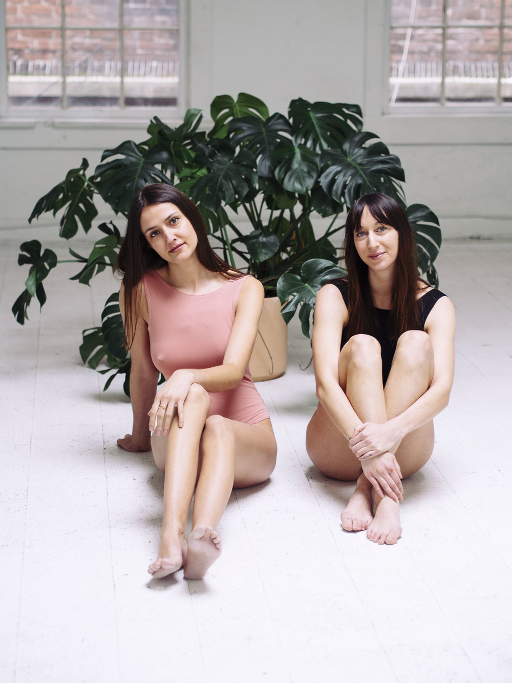 Danielle and Courtney with Monstera Plant at Upside Studios