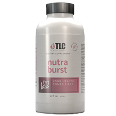 Nutra Burst®Nutra Burst®, the first product manufactured for TLC was designed to be a powerful liquid multivitamin safe for the whole family. It has been in production for over fifteen years and still remains a Best Seller. Just one tablespoon a day provides up to 98% absorption of the following: 72 Minerals, 12 Herbs, 19 Amino Acids, 13 Whole Food Greens, 22 Fruits & Vegetable Phytonutrients. -
