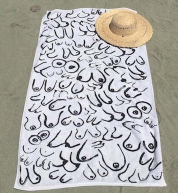 Boobs Towel - $85 - Gravel & GoldEveryone on the beach will know ya girl is breast inclusive.