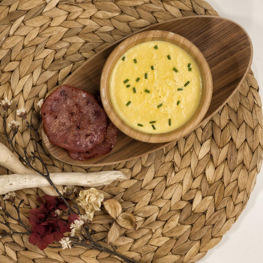 Soupe de maïs doux au Bacon -Photo recette du Chef Laurent Coutantic pour QVC © K. Mezrou
