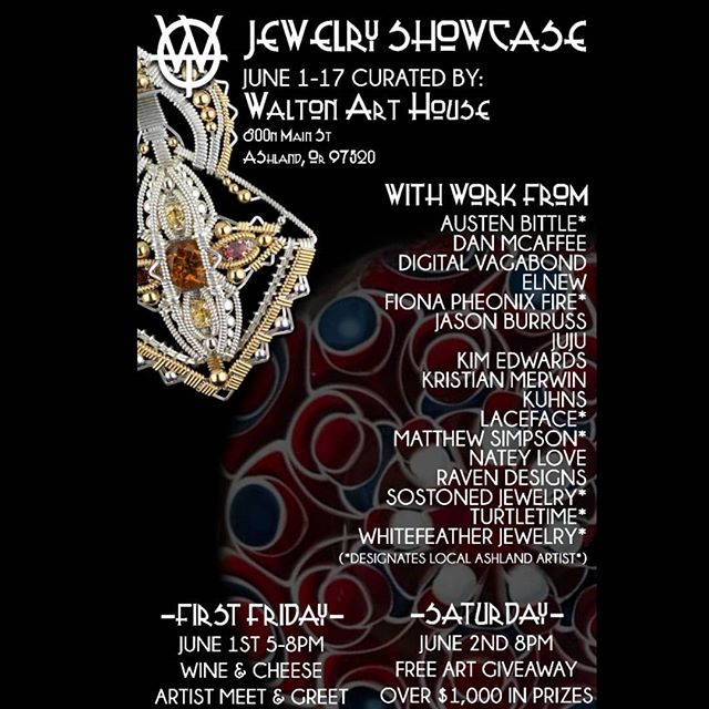🚨Upcoming 💎 Showcase🚨 @waltonarthouse June 1 will start our Jewelry showcase with a #FirstFriday wine & cheese meet and greet of one the greatest gemstone wire wrappers in the game @jasonburruss from Arcata Ca. But that's not all.... the dirtiest dotstacker in the dirty south @jujuglass111 from Dallas TX will also be in town! Come meet these great traveling artists alongside local Ashland artists like @lacefaceglass @turtletimeglass @fionaphoenixfire @austencricket @sostoned_jewelry @glowinghandglass @kelliewhitefeather for a mixed medium jewelry show of Glass, Gemstone, Gold, and Silver. Featuring jewelry designs from @kuhnsglass @nateylove @dan_mcafeeart @elnewglass @kimedwardsglass @kristianmerwin @digitalvagabond and @ravendesigns. Stick around for the weekend because Saturday at 8 we are gonna do multiple art giveaways to the locals who want to come hangout with us! All you have to do to be entered to win is wear a pendant, or buy something.  Heading to join us at @dfofamilyreunion and passing thru southern Oregon? swing by on the way there or back as we will have the work on display until the 17th(closed during dfo... we will be there too!🤣👊). #WaltonArtHouse #jewelryshowcase #americanartmovement #teamworkmakesthedreamwork #community #ashland #southernoregon #thingstodoinsouthernoregon