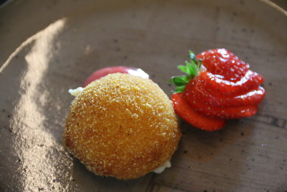 Cheese croquettes, strawberry chutney