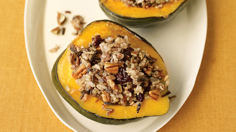 Acorn Squash Stuffed with Wild Rice