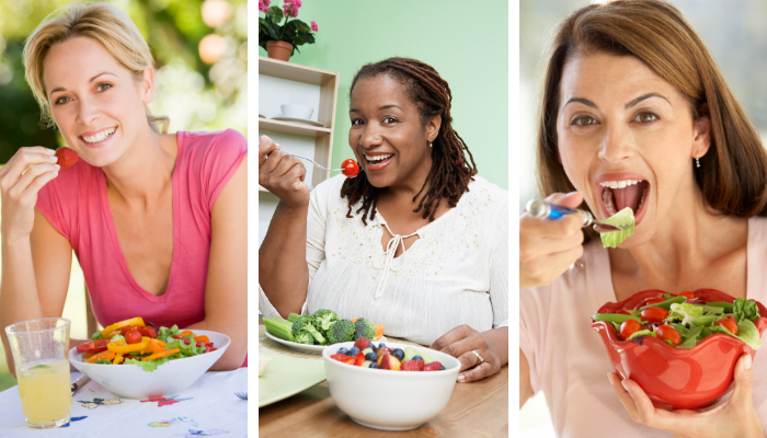 Women eating healthy fruits and veggies.png