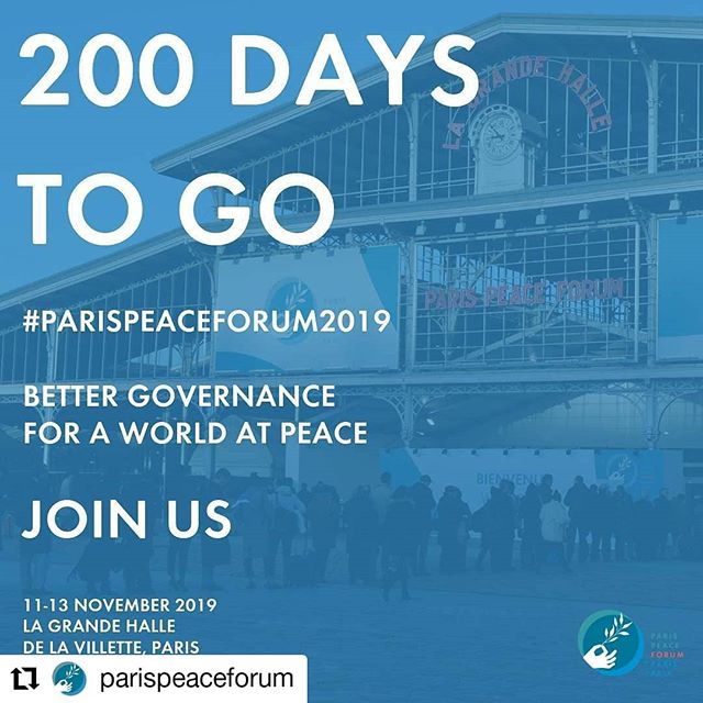 #Repost @parispeaceforum • • • • • • Save the date! In 200 days, states, multilateral organizations & civil society actors who are at the forefront of making change will cooperate to advance solutions when there are none. Joins us to solve global challenges through better global governance. · · · What: Paris Peace Forum 2019 When : 11-13 November Where: Grande Halle de La Villette How: Request your invitation starting June · · · #Solutionsforpeace #Staytuned #ParisPeaceForum #ParisPeaceForum2019 #Standforpeace #peace #peacebuilding #civilsociety #callforprojects #globalcitizen #governance #internationalcooperation #multilateralism #paris #solutions