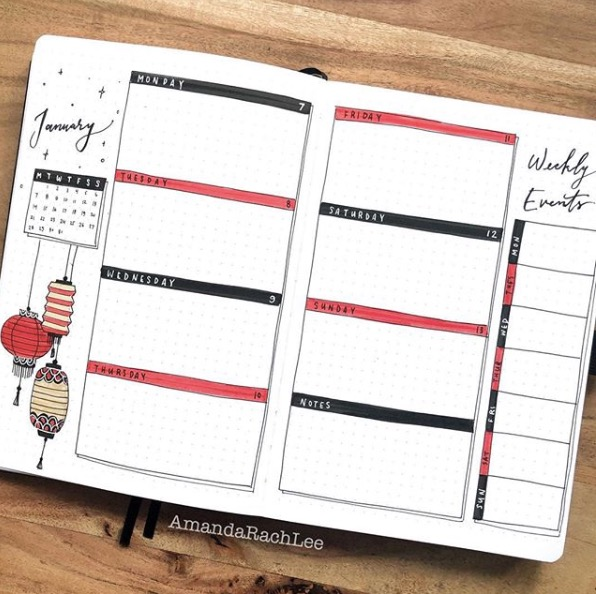 - Weekly SpreadsMuch prettier and more customizable than a wall calendar, bullet journals are great creative spaces to write down to-do lists, trackers, journal, doodle, and anything else you can think of. Weekly spreads are meant to organize your week by laying out each day with your events and tasks.