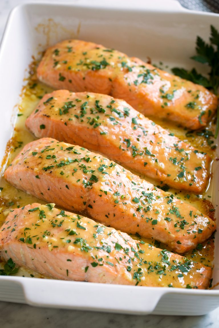2. Baked Salmon with Buttery Honey Mustard Sauce -