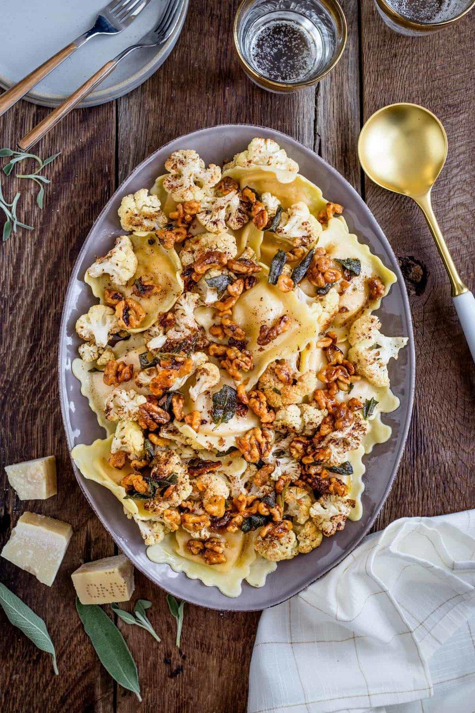 12. Butternut SquashRavioli with Roasted Cauliflower + Brown Butter -