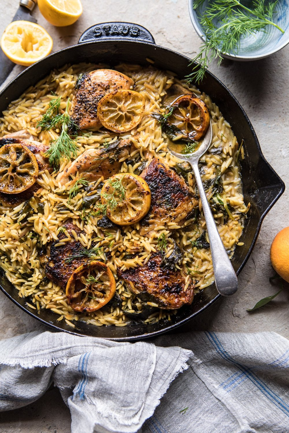 9. One-Skillet Lemon Butter Chicken and Orzo -