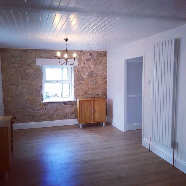 When 2 (rooms) become 1. Featuring restoration lime pointing, a nice column radiator, and scribing into a stone wall... The Spice Girls never did that! #joinery #carpentry #renovation #openkitchen #kitchendesign #knockthrough #restoration #pointing #joinersofinstagram