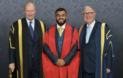 Hussain Manawer with Lord Geidt and Professor Edward Byrne