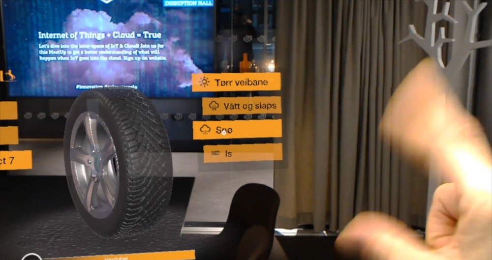 B2B sales tool for Continental Tires in augmented reality - Hololens 1 .   Go to story >