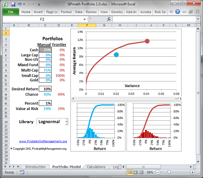 Screenshot of the Excel example                          Download  the SIP math Portfolio model