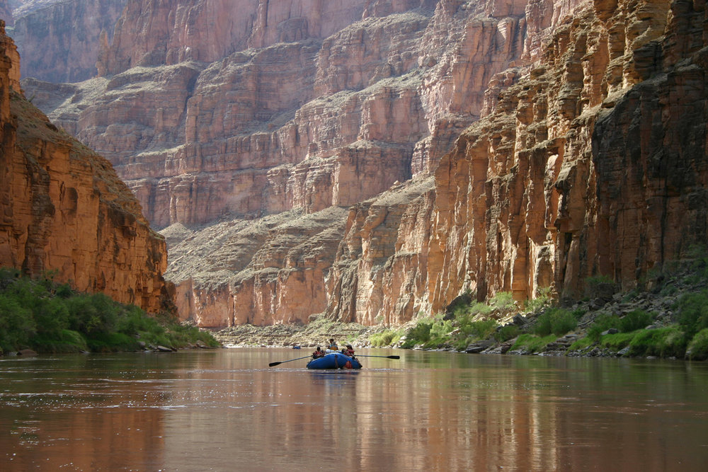Rafters enjoy floating down the Colorado River in the Grand Canyon. Boating down the Colorado River below Havasu Creek in Grand Canyon National Park. NPS photo by Mark Lellouch.