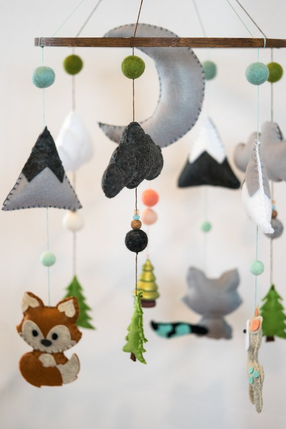 Woodland Animal Nursery / Felt Mobile / Mountain Nursery / Felt Moon / Woodland Mobile / Fox Fawn Raccoon / Monochrome / Scandi DecorHelloxSugar