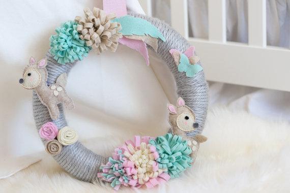 Boho Nursery Wreath / Baby Girl Nursery / Pastel Nursery / Fawn NurseryHelloxSugar