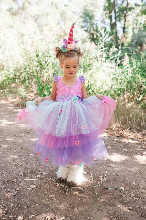 Everly Unicorn Costume - girls unicorn costume, unicorn birthday dress, unicorn tutu dress, toddler unicorn costume, baby unicorn costumePink Pompon