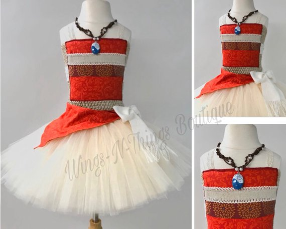 MOANA PRINCESS DRESS, 3pc Set Tutu Costume w/ Pendant Necklace and Sash, Toddler Outfit, Girl Halloween, Polynesian, Hawaiian, HawaiiWings and Things 13