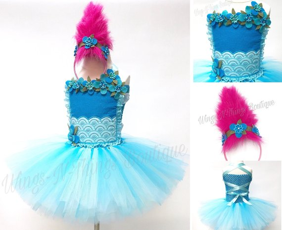 TROLL TUTU DRESS, Princess Costume, Girls Halloween Costume, Pink Hair Headband, Flower Crown, Children, Infant, Baby, Child, KidsWings and Things 13