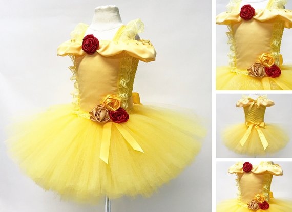 PRINCESS BEAUTY GOWN, Tutu Dress Costume, Girls Halloween Costume, Yellow, Gold, Red Rose, Toddler, Children, Infant, Baby, Child, KidsWings and Things 13
