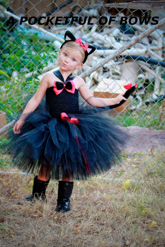 Black Cat Tutu Dress Costume, Girls Cat Costume, Toddler Halloween CostumeA Pocketful of Bows