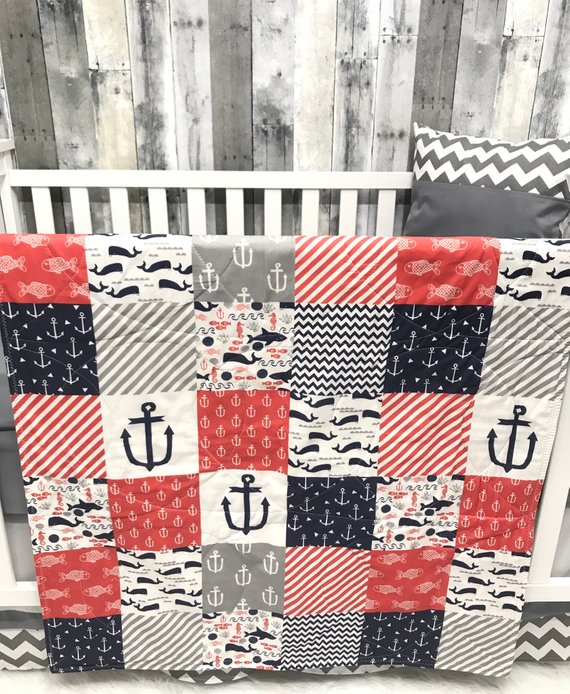 Baby Nursery Set , Baby/Toddler Blanket , Nautical , Coral , Anchor , Chevron , Fish , Baby Bedding , Crib Bedding Baby Looms