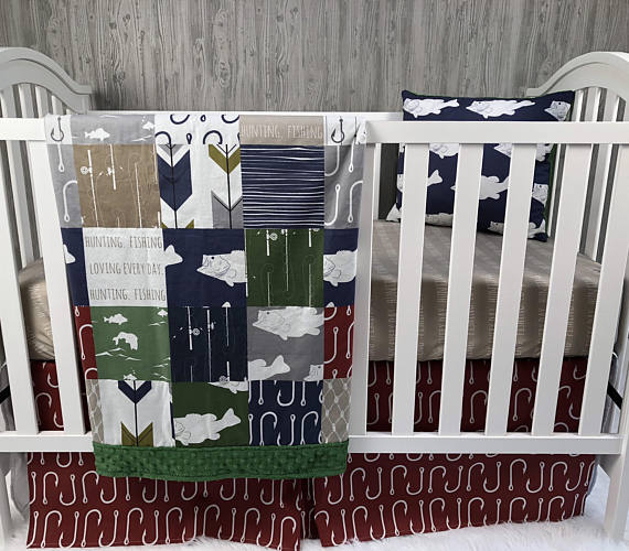 Baby Nursery Bedding Set , Baby , Fishing , Hunting , Fisherman , Hooks , Bass , Fish , Boat , Baby Bedding , Crib Bedding , Gone FishingBaby Looms
