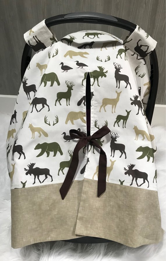 Any print in my shop ! Car Seat Infant Seat Tent Cover , Buck, Woodland , Bear , Moose , Woodland , Camo , Seat Cover , Deer , BabyloomsBaby Looms