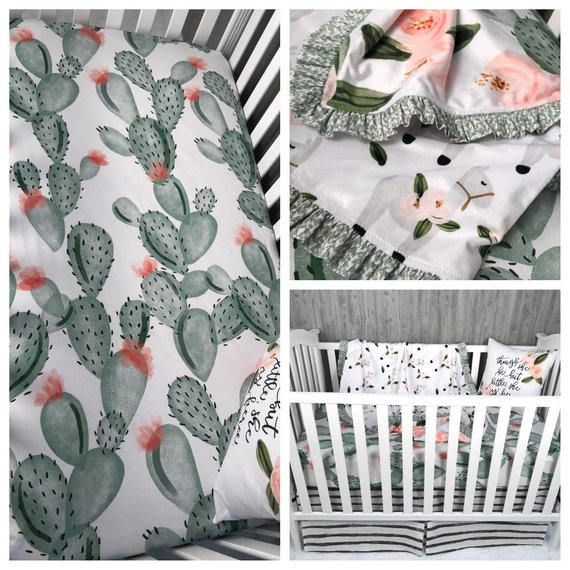 Custom Made Baby Bedding , Llama , Desert , Cactus , Floral , Lama , Crib Bedding , Nursery , Baby , Crib , BeddingBaby Looms