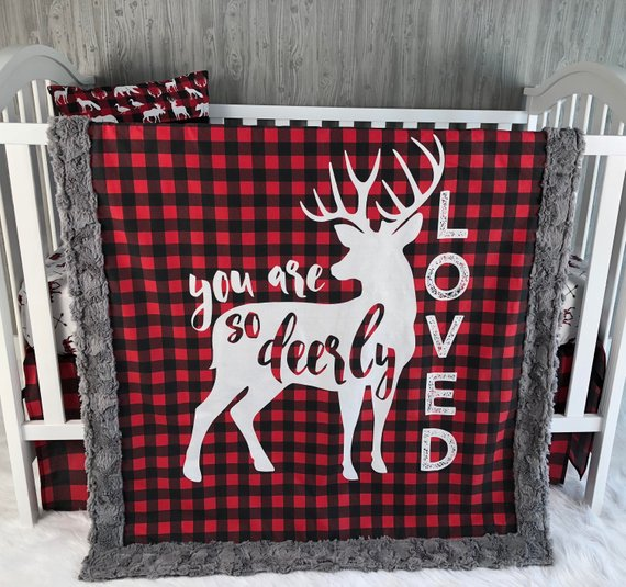 Baby Nursery Bedding Set , Baby , Woodland , Buck, Little Man , Lumberjack , Deer , Buffalo Plaid , Baby Bedding , Babylooms Crib BeddingBaby Looms