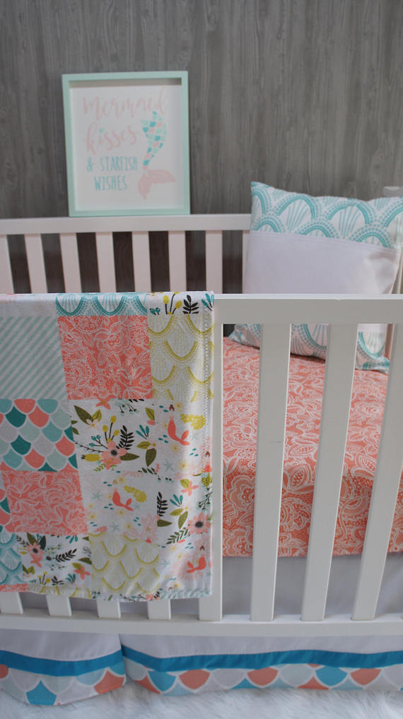Baby Nursery Bedding Set , Baby , Mermaids , Sea , Coral , Mermaid , Fish , Baby Bedding , Crib Bedding , BabyloomsBaby Loom