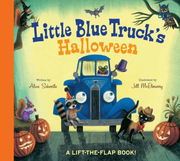 Little Blue Truck's Halloween by Alice Schertle, Jill McElmurry  Beep! Beep! It's Halloween! Little Blue Truck is picking up his animal friends for a costume party. Lift the flaps in this large, sturdy board book to find out who's dressed up in each costume! Will Blue wear a costume too?