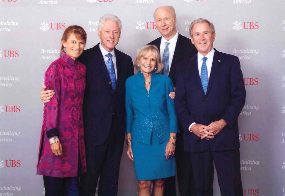 "October 14, 2014 - UBS conference, ""Revitalizing America, The Road to Sustainable Growth"" Boston, MA.  (in picture L to R) Jacqueline Novogratz,  President Bill Clinton, Kay Koplovitz, David Gergen, President George W. Bush."