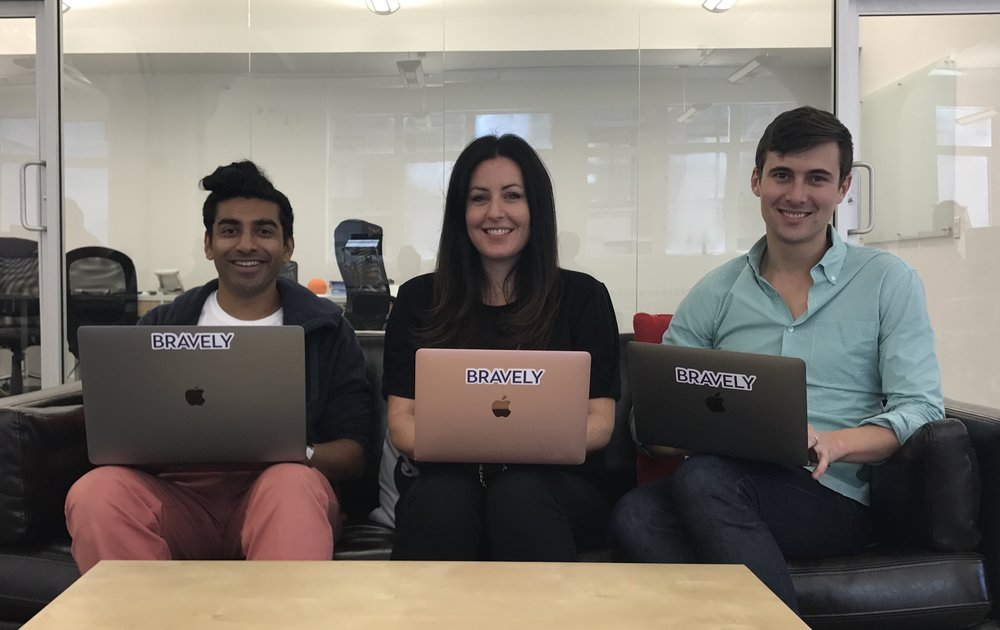 Bravely's Founders (from left) Rasesh Patel, Sarah Sheehan, and Toby Hervey