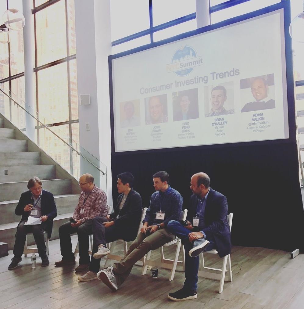 From left: Eric Hippeau (Partner, Lerer Hippeau Ventures), Josh Elman (Partner, Greylock Partners), Eric Feng (Partner, Kleiner Perkins Caufield & Byers), Brian O'Malley (Partner, Accel Partners), Adam Valkin (Managing Director, General Catalyst Partners)