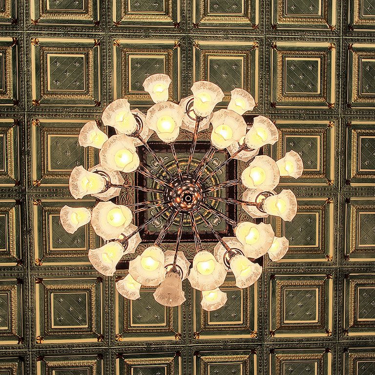Original gas chandelier at the Stoughton Opera House