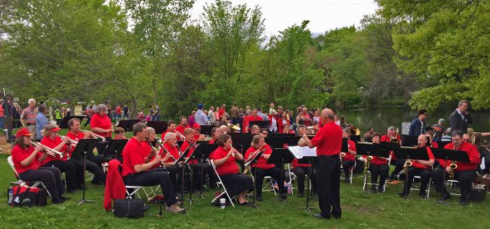 Stougthon City Band playing at Division Street Park during the Canoe Race Portage.
