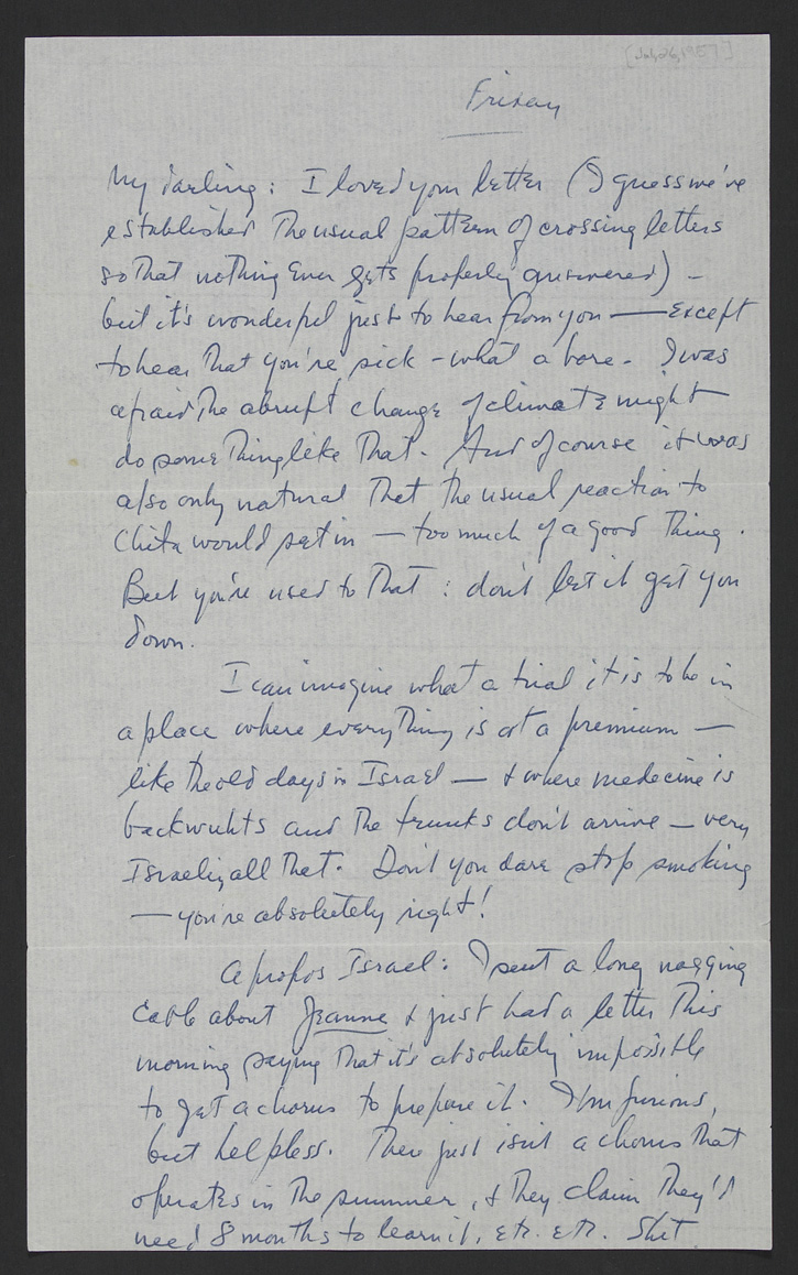Letter from Leonard Bernstein to his wife Felicia Montealegre Bernstein. July 26, 1957. Typescript and holograph manuscript. Leonard Bernstein Collection, Music Division, Library of Congress (18) By permission of The Leonard Bernstein Office, Inc.