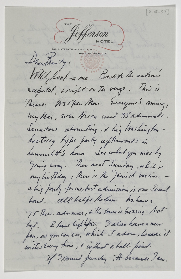 Letter from Leonard Bernstein to his wife Felicia Montealegre Bernstein. August 15, 1957. Typescript and holograph manuscript.  Leonard Bernstein Collection, Music Division, Library of Congress (24) By permission of The Leonard Bernstein Office, Inc.