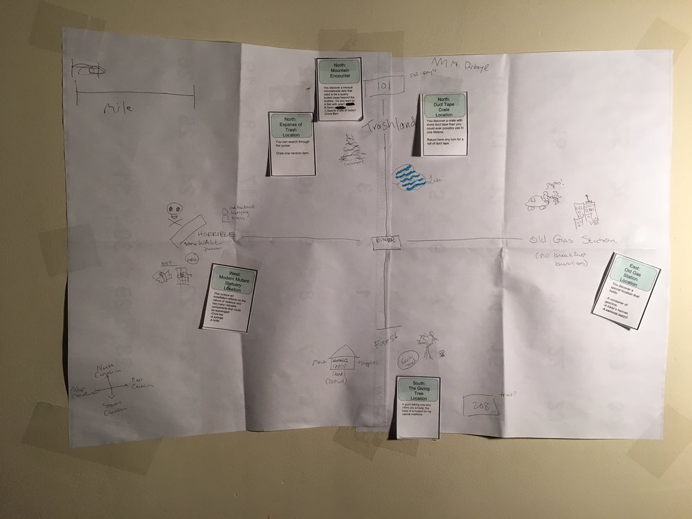 The players map their discoveries on the wasteland.