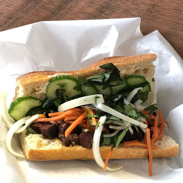 Our Pork Belly Bahn Mi is back on the menu at the lunch counter. Swing by for a sandwich and a smoothie, a perfect lunch!  Open 11a-2p Mon-Fri  #whatsforlunch #bahnmi #pdxnow #pdxeats #bcorp