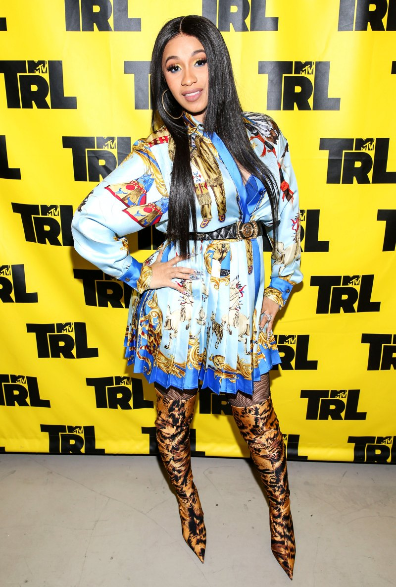 Versace Versace Versace - MTV's TRL Studios in NYC on April 10 in a Versace dress and Balenciaga Boots