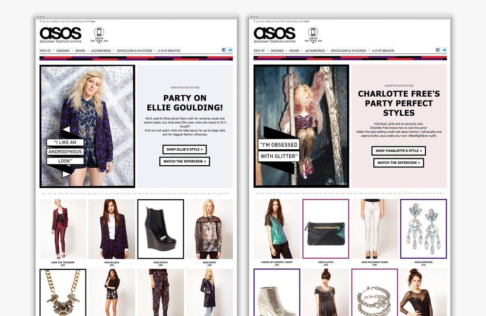 ASOS Womenswear #BestNightEver email newsletters