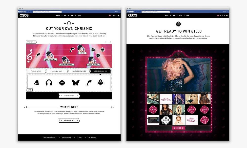 ASOS Womenswear #BestNightEver Facebook hub – Chrismix and Fashion Bingo games